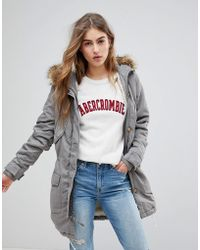 Abercrombie & Fitch - Twill Faux Fur Lined Parka - Lyst
