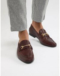 ASOS - Loafers In Burgundy Leather With Snaffle Detail - Lyst
