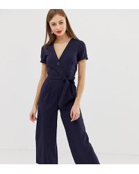 Oasis - Jumpsuit With Belt In Navy - Lyst