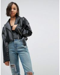 ASOS | Oversized Leather Jacket With Zip Detail | Lyst