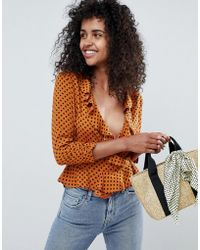 Miss Selfridge - Blouse With Ruffle Front In Rust Polka - Lyst