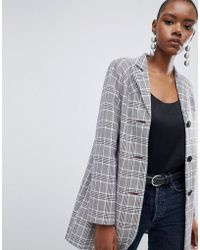 ASOS - Design Check Formal Coat With Western Stitching - Lyst