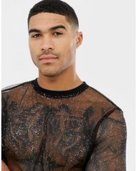 ASOS - Longline Long Sleeve T-shirt In Sparkly Mesh - Lyst