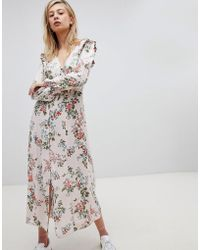 New Look - Button Front Floral Printed Maxi Tea Dress - Lyst