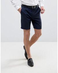 ASOS - Tailored Slim Shorts In Navy - Lyst