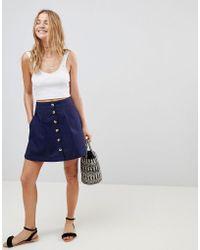 ASOS - Asos Cotton Mini Skater Skirt With Button Front - Lyst