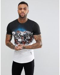 Religion - T-shirt With Skull Roses Fade - Lyst