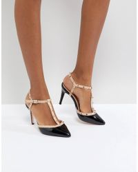 Dune - London Catelyn Leather Studded Heeled Shoe In Black - Lyst