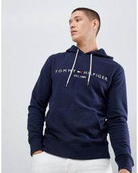 Tommy Hilfiger - Chest Embroidered Logo Hoodie In Navy - Lyst