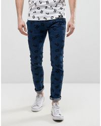 House of Holland - X Lee Lettering Luke Skinny Jeans Mid Wash - Lyst