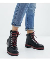 New Look - Lace Up Flat Ankle Boot - Lyst