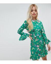 John Zack - Frilly Skater Dress In Green Floral - Lyst