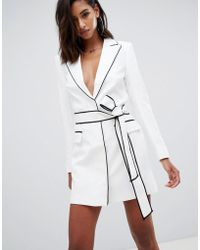 Missguided - Peace & Love Tie Waist Tux Dress With Contrast Binding In White - Lyst