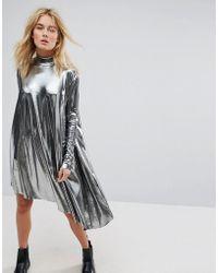 Weekday - Metallic Assymetrical Dress - Lyst