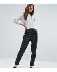 ASOS | Leather Look Tapered Pant With Elasticated Back | Lyst