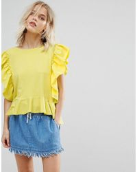 Mango - Frill Front Jersey Top - Lyst