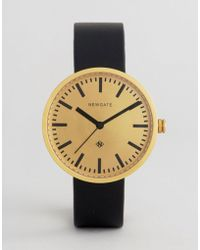 Newgate Watches - Drummer Black Leather Watch With Gold Dial - Lyst