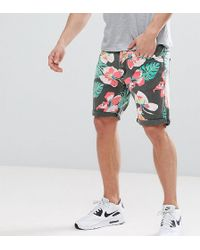 Liquor N Poker - Denim Short In Tropical Print - Lyst