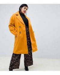 River Island - Double Breasted Tailored Longline Coat In Yellow - Lyst