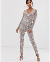 ASOS Embellished Fringe Jumpsuit - Pink