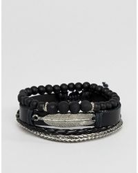 ASOS - Design Leather And Chain Bracelet Pack In Black With Feather - Lyst