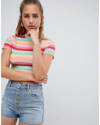 PrettyLittleThing - Stripe Crop Top - Lyst