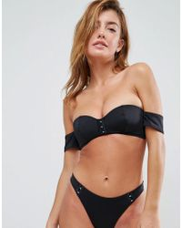 ASOS - Mix And Match Molded Bardot Bikini Top With Hook And Eye - Lyst