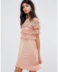 River Island | Double Tier Dobby Mesh Dress | Lyst