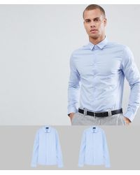 ASOS - Skinny 2 Pack Blue Shirt Save - Lyst