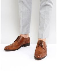 Dune - Wing Tip Shoes Tan Leather - Lyst