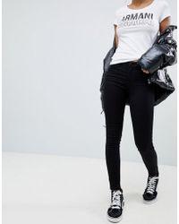 Armani Exchange - Super Skinny Mid Rise Jeans - Lyst
