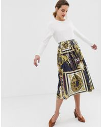River Island - Pleated Jersey Skirt In Chain Print - Lyst