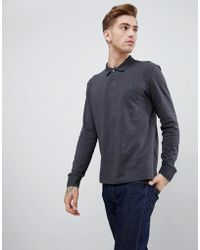 Original Penguin - Chunky Rib Mouline Long Sleeve Polo Slim Fit Embroidered Logo In Dark Grey Marl - Lyst