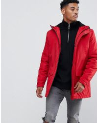 ASOS - Padded Parka In Red - Lyst