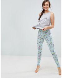 ASOS | Embroidered I Need Space Legging And Tee Pyjama Set | Lyst