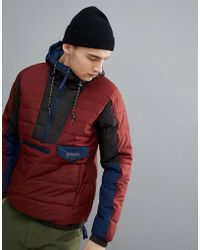Columbia - Norwester Anorak Hooded In Red/navy - Lyst