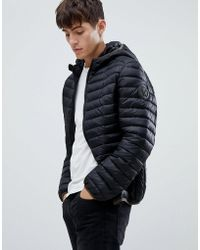 Versace Jeans - Puffer Jacket In Black With Hood - Lyst