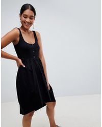 ASOS - Mixed Fabric Popper Front Smock Dress - Lyst