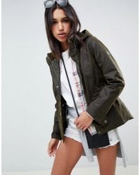 Barbour - Hunstanton Wax Jacket With Hood And Borg Collar - Lyst