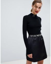 Emporio Armani - Ribbed Mini Dress With Branded Taping - Lyst