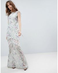 Hope and Ivy - Hope & Ivy Printed Crochet Insert Maxi Dress With Open Back Ruffle Detail - Lyst