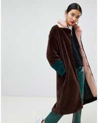 NA-KD - Faux Fur Midi Colour Block Coat In Brown - Lyst