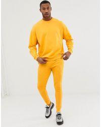 ASOS - Tracksuit Oversized Sweatshirt / Skinny Joggers In Yellow - Lyst