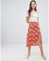 Miss Selfridge - Floral Side Button Midi Skirt - Lyst
