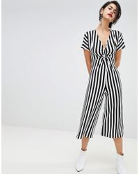 Stradivarius - Ribbed Stripe Print Twist Front Jumpsuit - Lyst