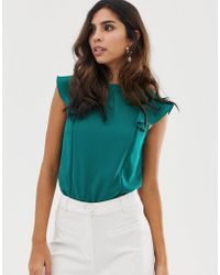 Oasis - Blouse With Frill Sleeves In Green - Lyst