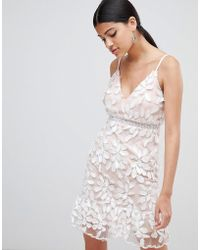 Love Triangle - 3d Applique Dress With Peplum Hem - Lyst