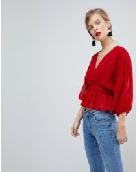 ASOS - Sheer Waisted Poets Sleeve Blouse - Lyst