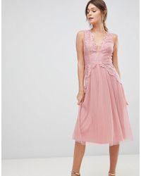 ASOS - Lace Top Mesh Pleated Midi Dress - Lyst