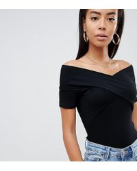 ASOS - Asos Design Tall Off Shoulder Fitted Top In Black - Lyst
